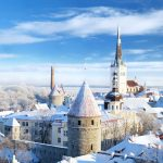 Panoramic view of old part of Tallin, Estonia in winter