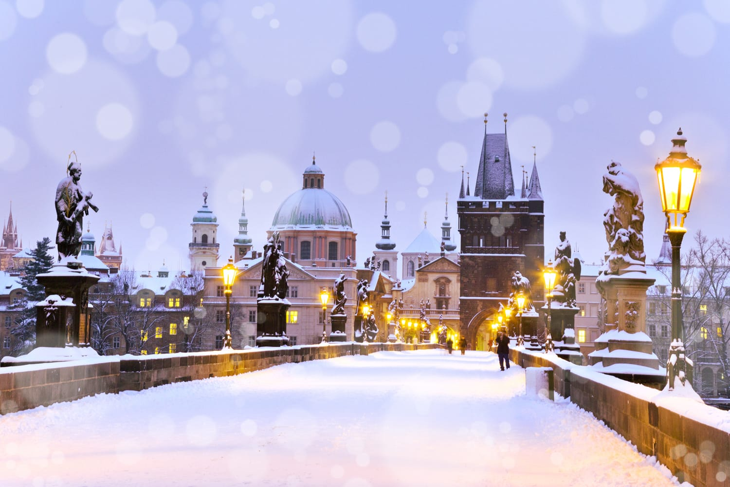 Charles bridge covered in snow, Prague, Czech Republic