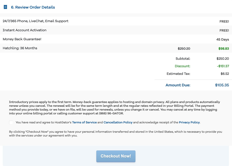 Review order details with Hostgator