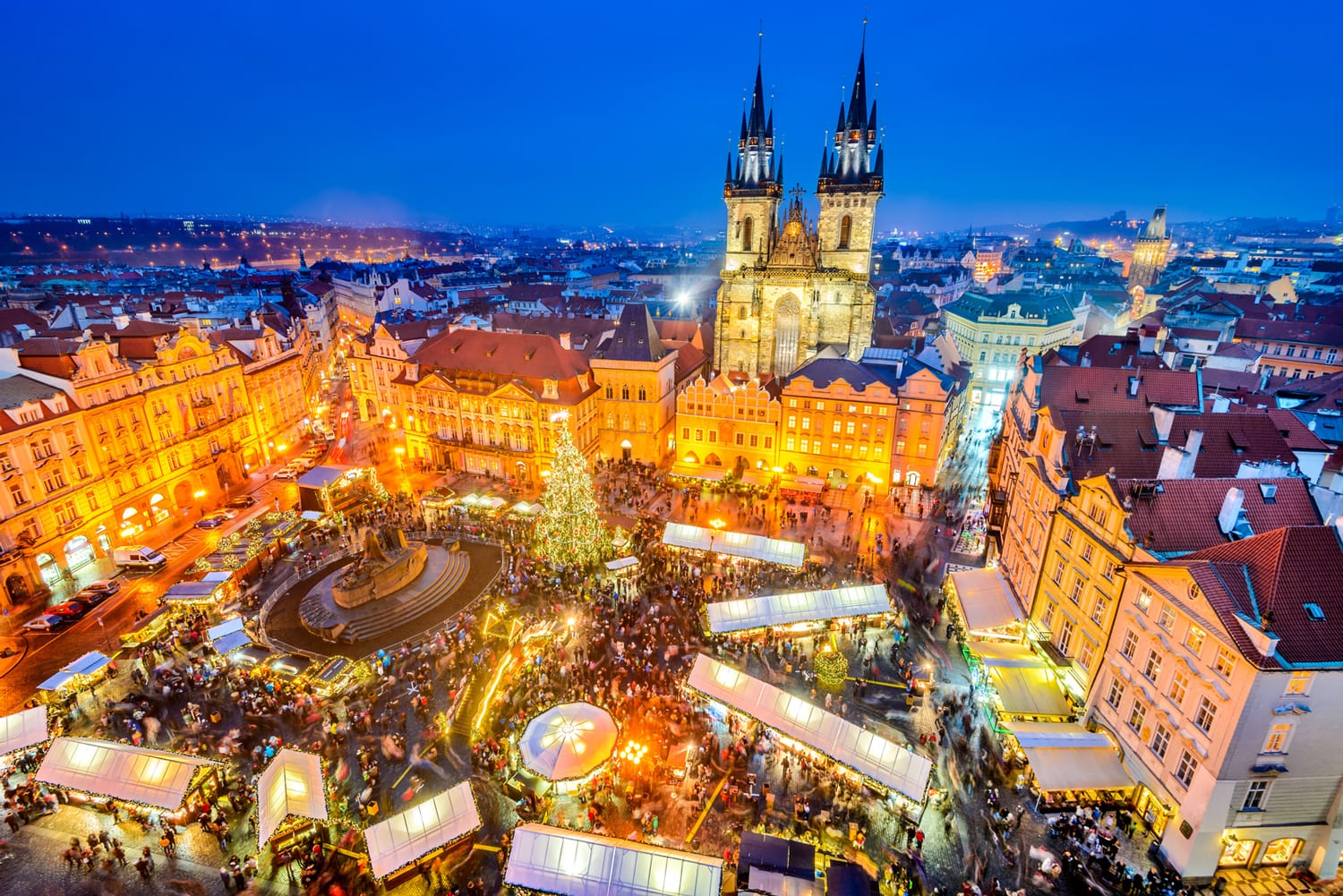 Christmas Market in Stare Mesto old square, Prague, Czechia