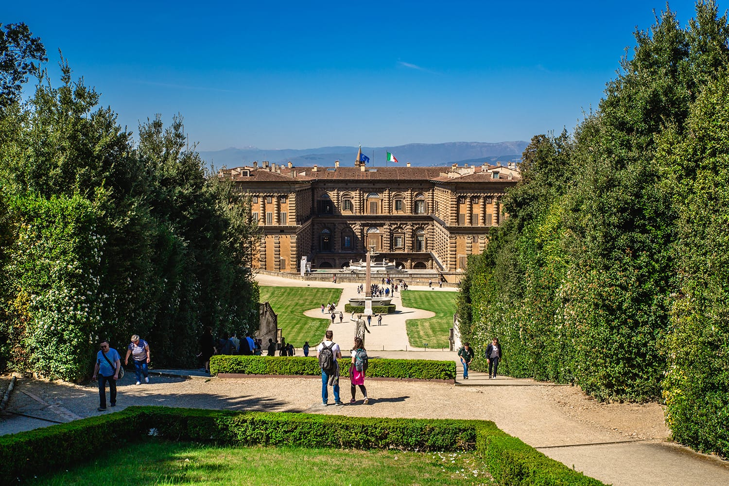 Tourists in Wonderful Boboli Gardens in Florence, Italy
