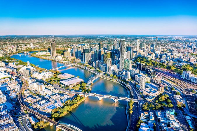 Magnificence of Brisbane City, Aerial View From Helicopter.
