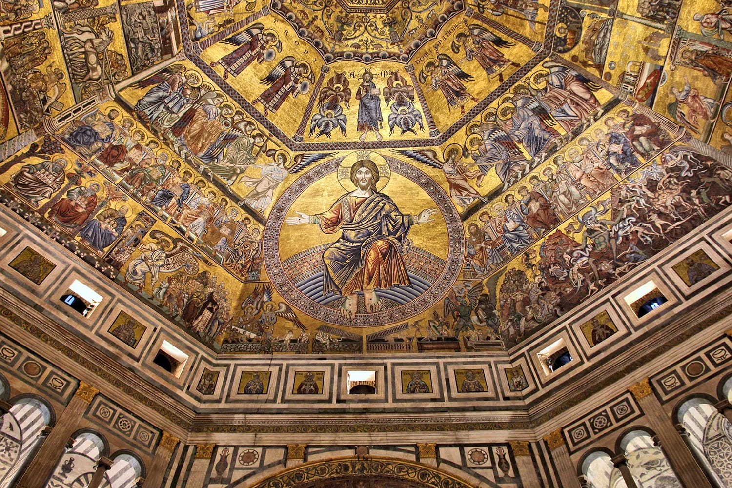 Interior view of the Baptistery of Saint John in Florence, Italy. The landmark features Florentine Romanesque style and has mosaics by Jacopo Torriti.