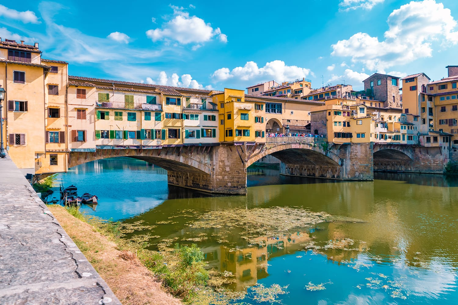 Ponte Vecchio bridge over the Arno River in Florence Italiy