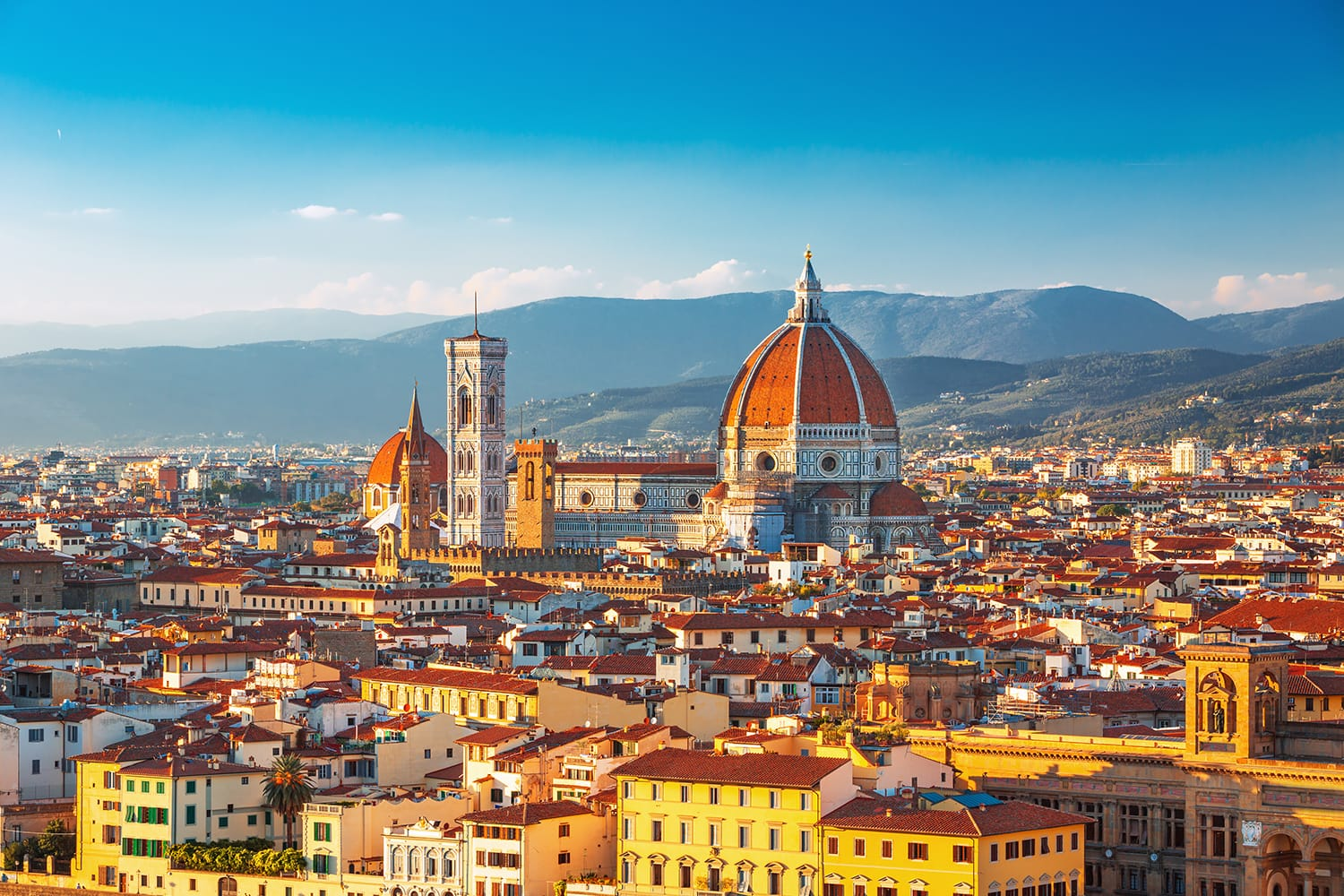 Beautiful view on hart of amazing Florence city and the Cathedral at sunrise, Florence, Italy