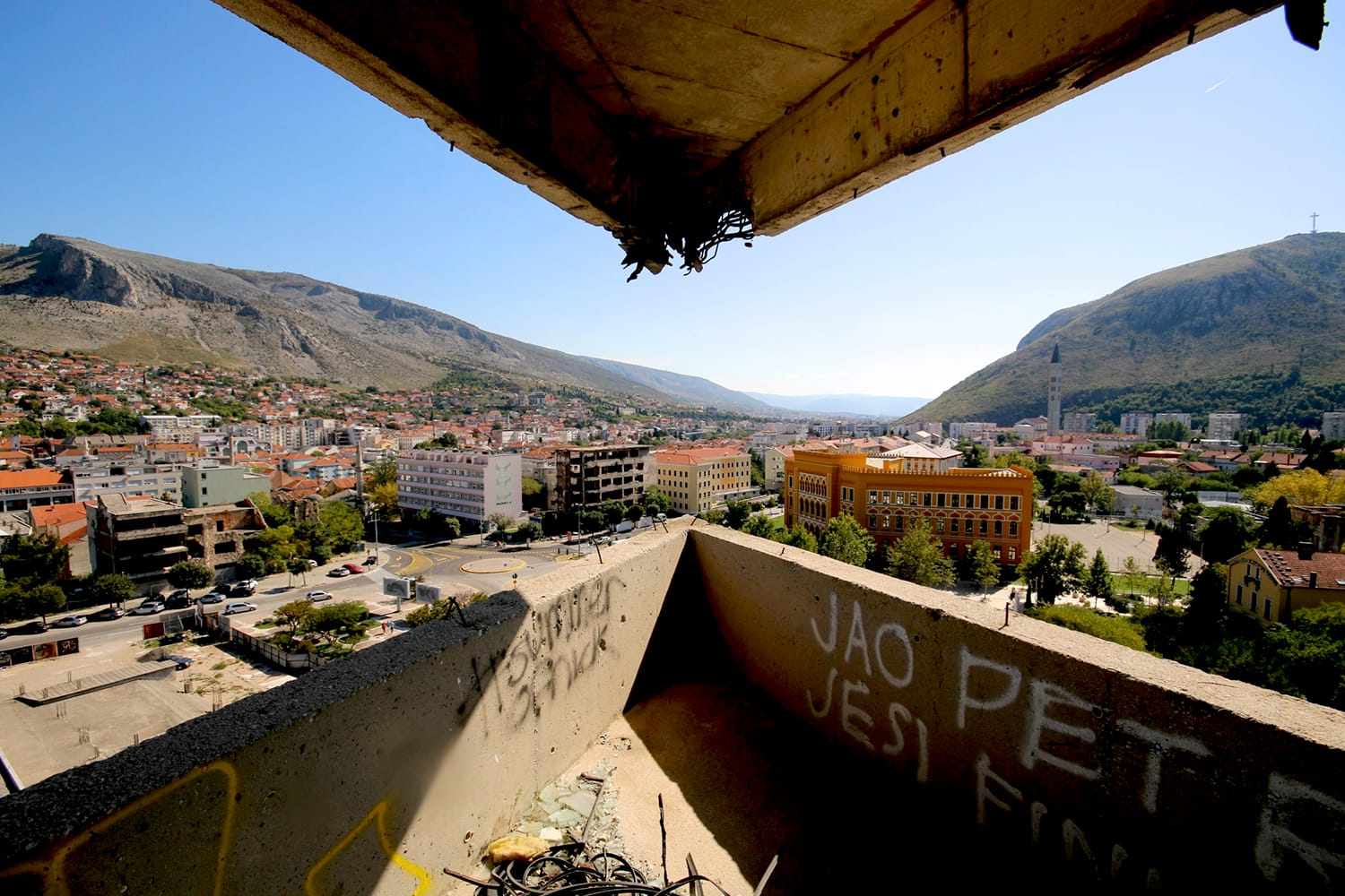 View from abandoned Sniper tower in Mostar, Bosnia & Herzegovina