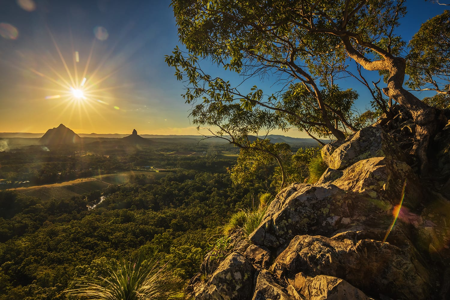 Sunset seen from Mount Tibrogargan, Glass House Mountains, Sunshine Coast, Queensland, Australia