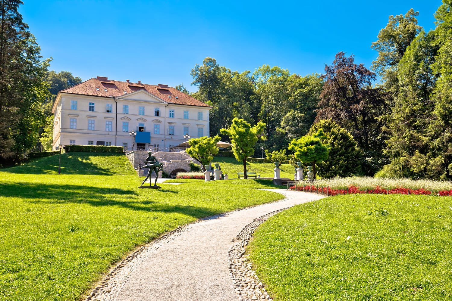 Tivoli park landscape in Ljubljana, green heart of capital of Slovenia