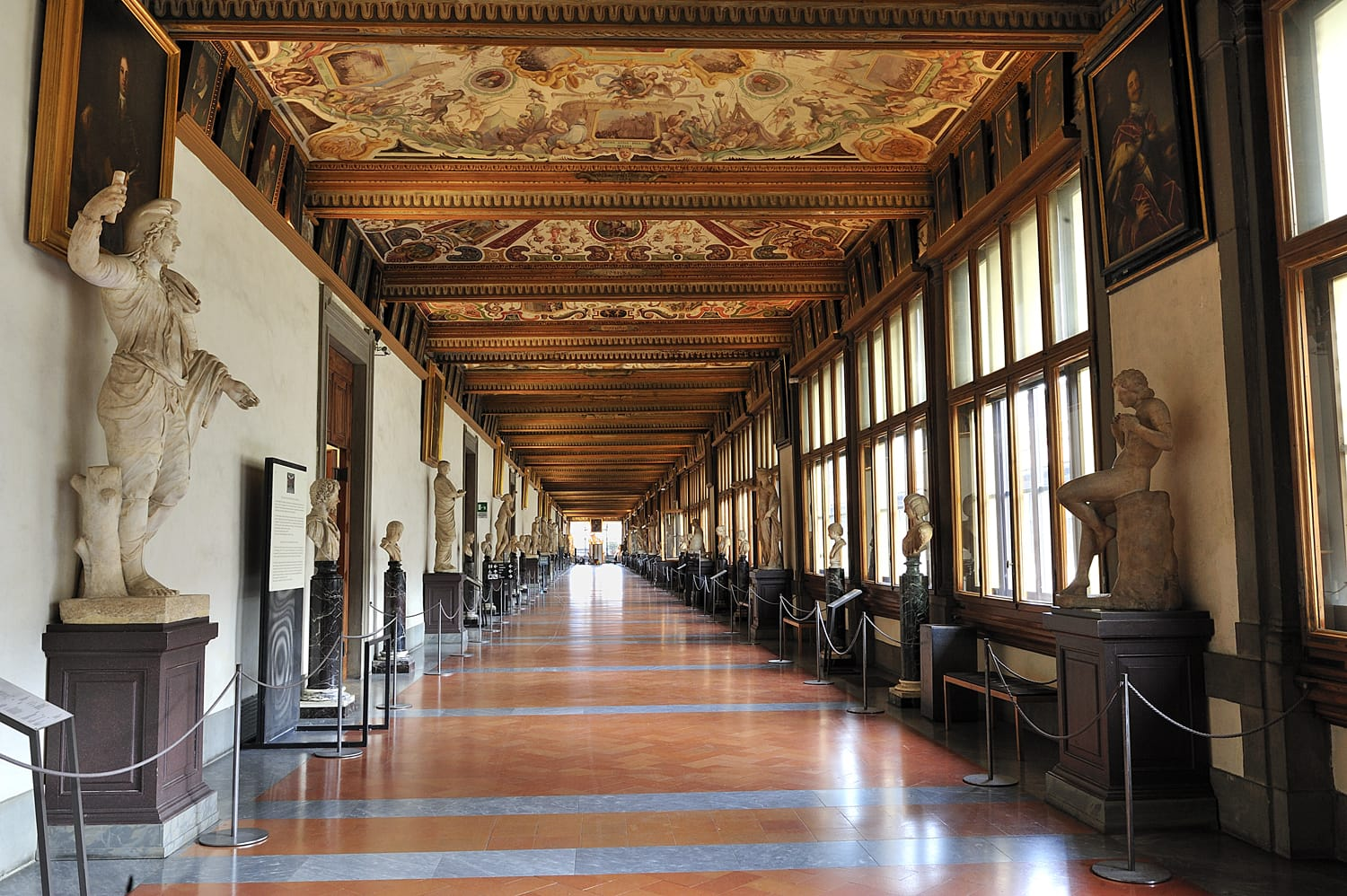 Uffizi Gallery, East Corridor, one of the main museums in Florence, and among the oldest and most famous art museums of Europe, Florence, Italy