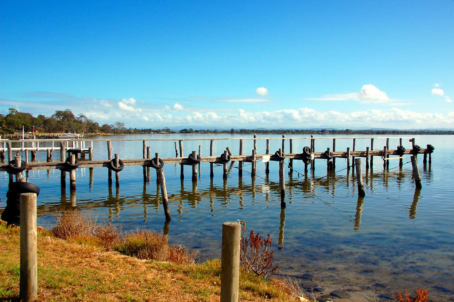 Fishing pier, Eagle Point, small town in Victoria, Australia known by its Lake King, reserve and bushland.