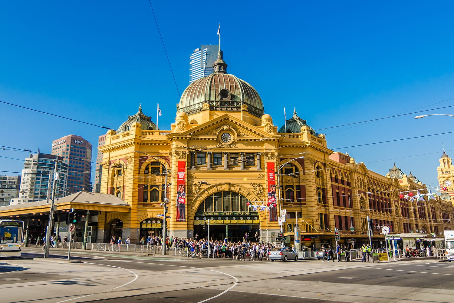 Flinders Street Station is the biggest station in Melbourne, Australia