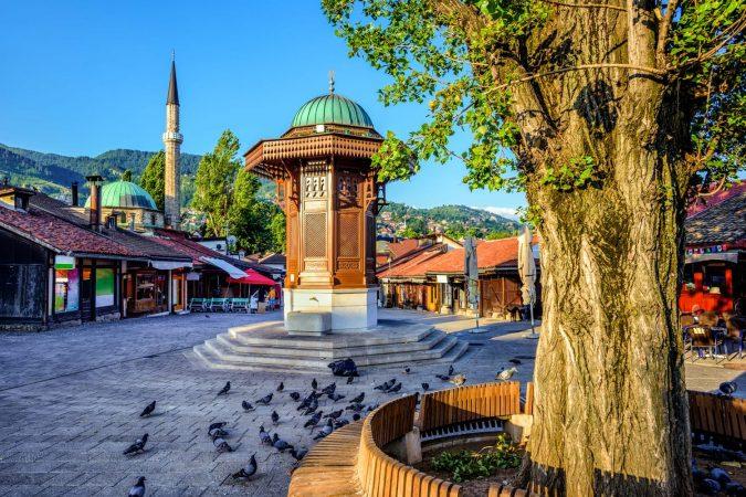 Bascarsija square with Sebilj wooden fountain in Old Town Sarajevo, capital city of Bosnia and Herzegovina