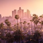 Beautiful sunset of Los Angeles downtown skyline and palm trees in foreground