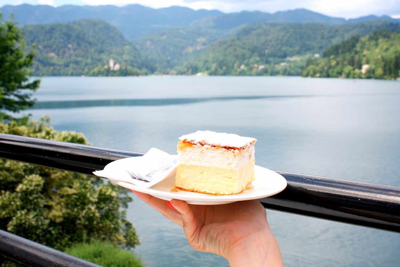 vanilla and custard cream cake at Lake Bled, Slovenia