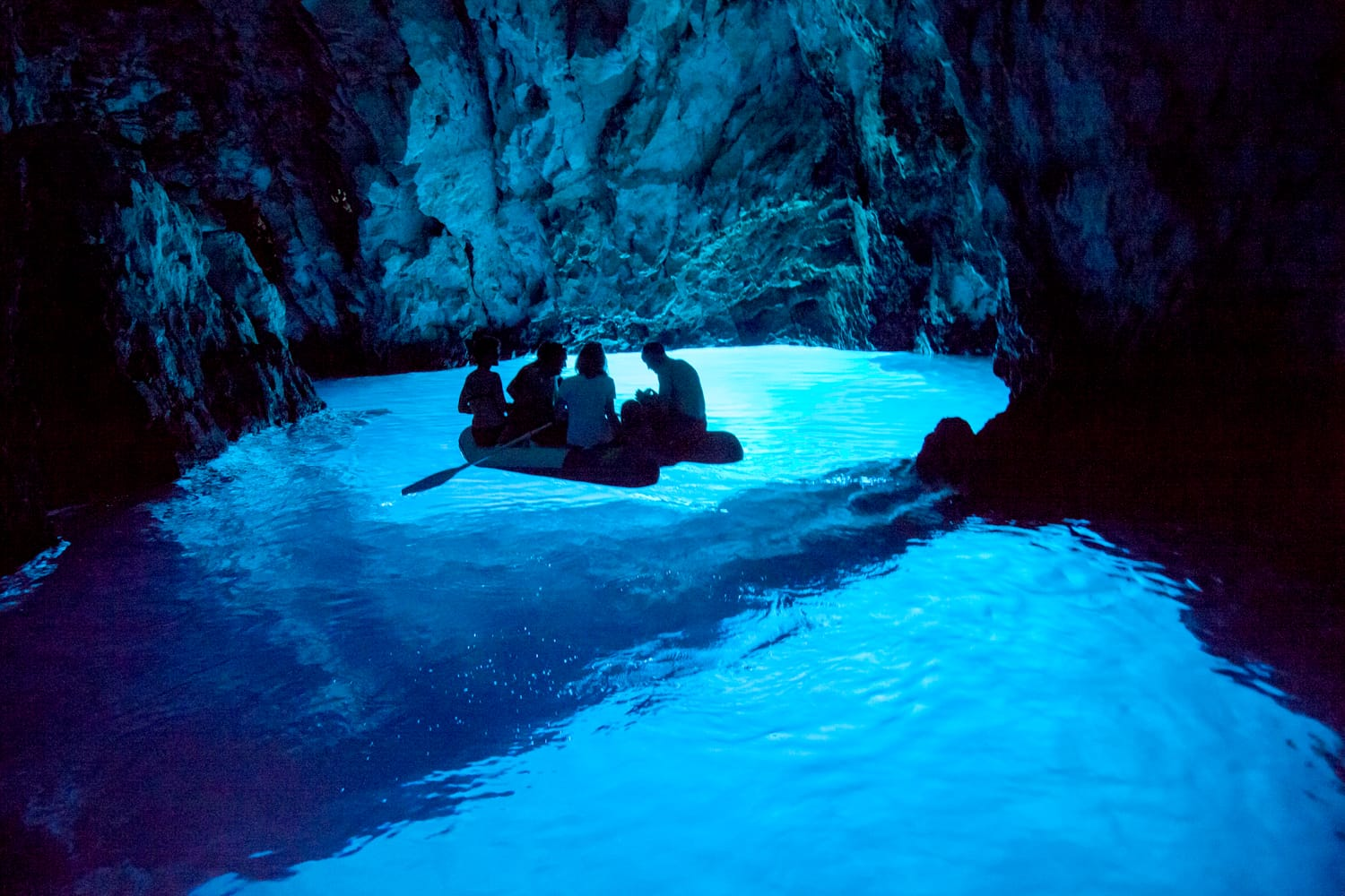 The Blue Cave is one of Croatia's natural wonders, located on the eastern side of island Bisevo. The cave receives more than 90,000 tourist visits every year