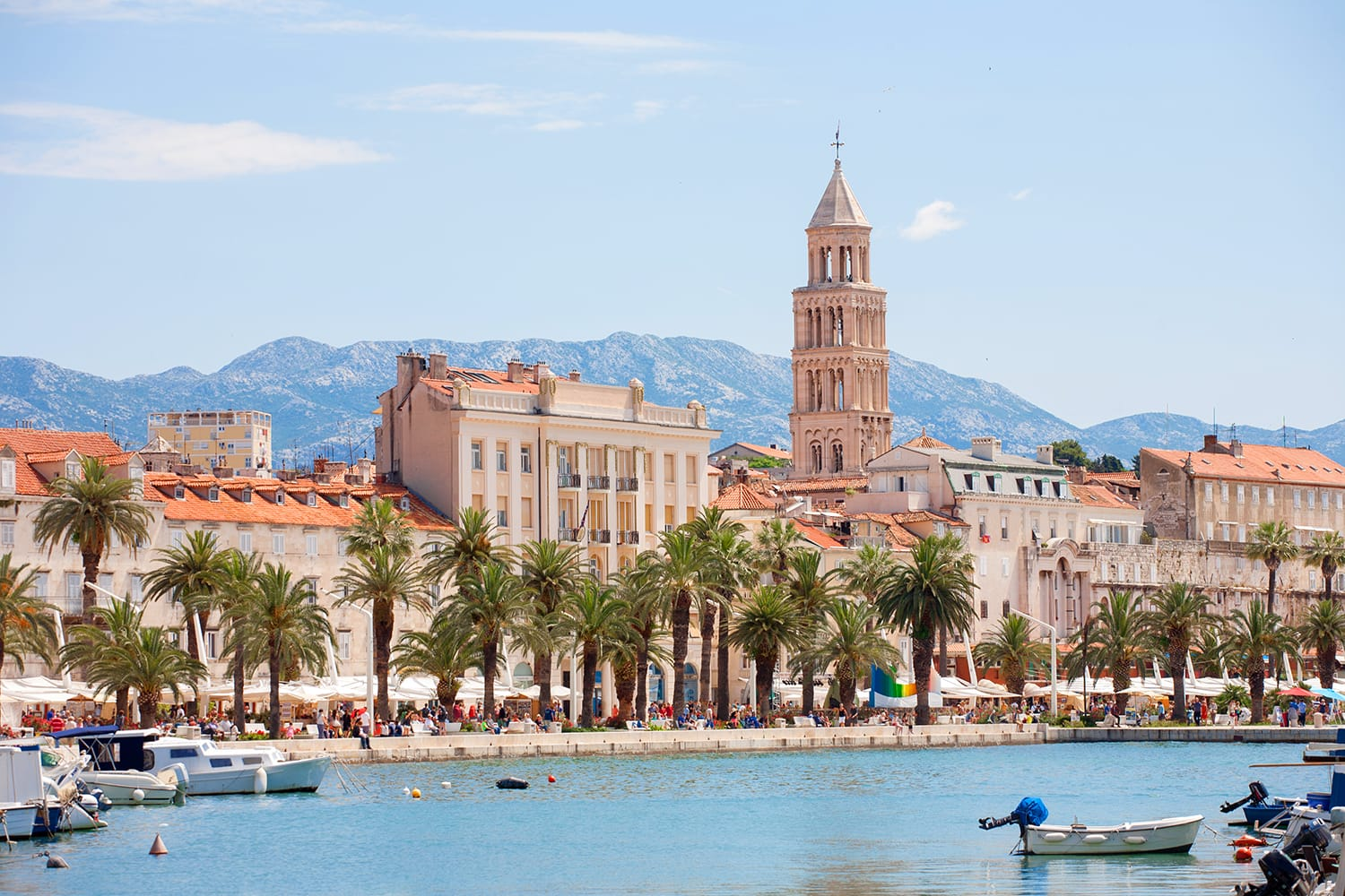 Split in Croatia with the Diocletian palace and the dome from the sea