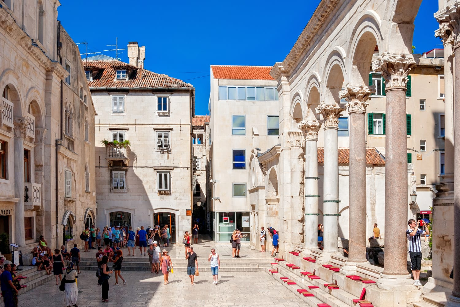 Peristyle of Diocletian's Palace, currently used as a theater space. Split, Croatia