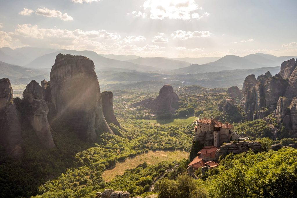 Sunset at Adrachti Pillar in Meteora, Greece