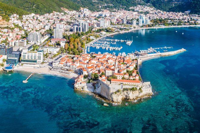Budva, Montenegro from the air.