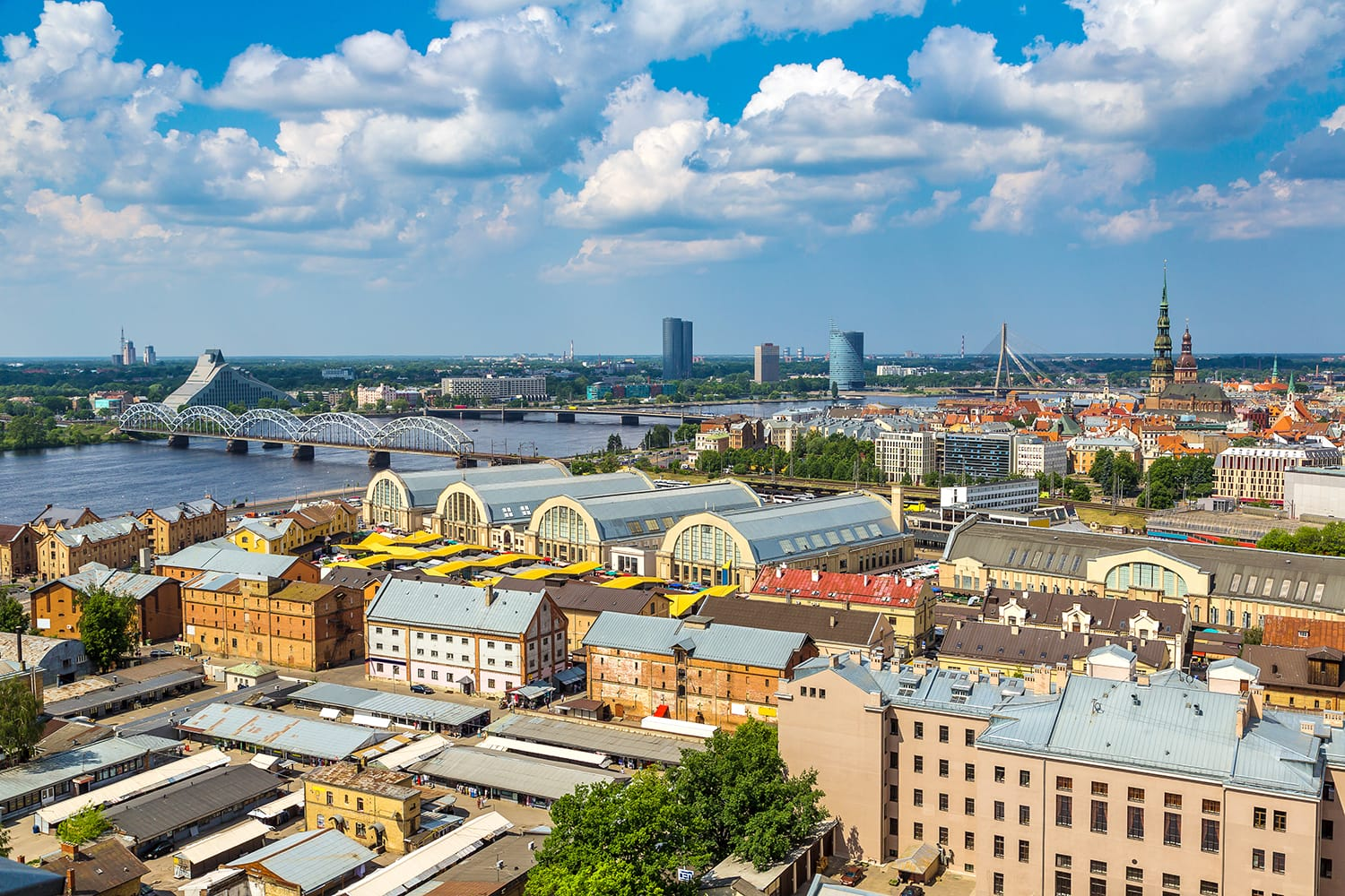 Panoramic aerial view of Riga in a beautiful summer day, Latvia