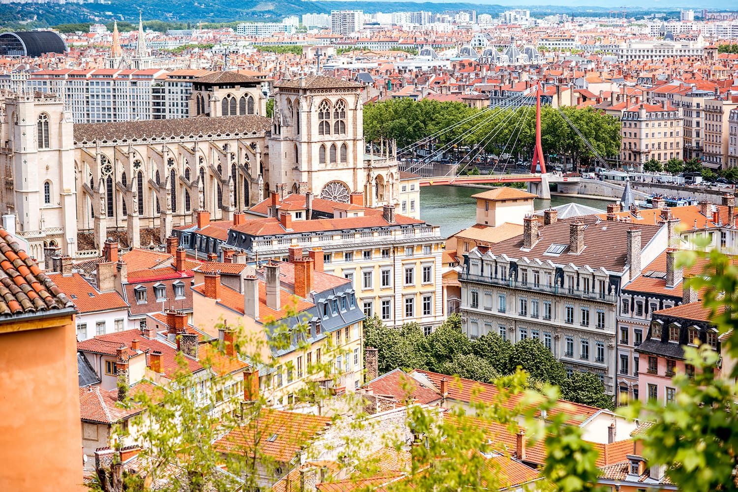 Aerial cityscape view with saint Johns cathedral and beautiful buildings in Lyon, France