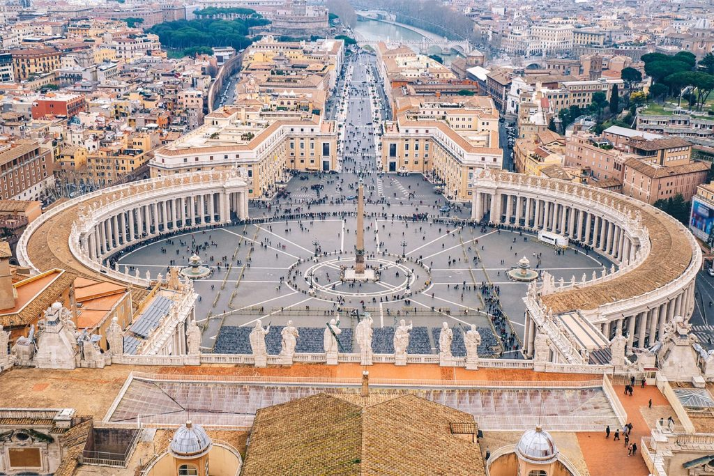 Rome Saint Peters square as seen from above aerial view in Rome, Italy