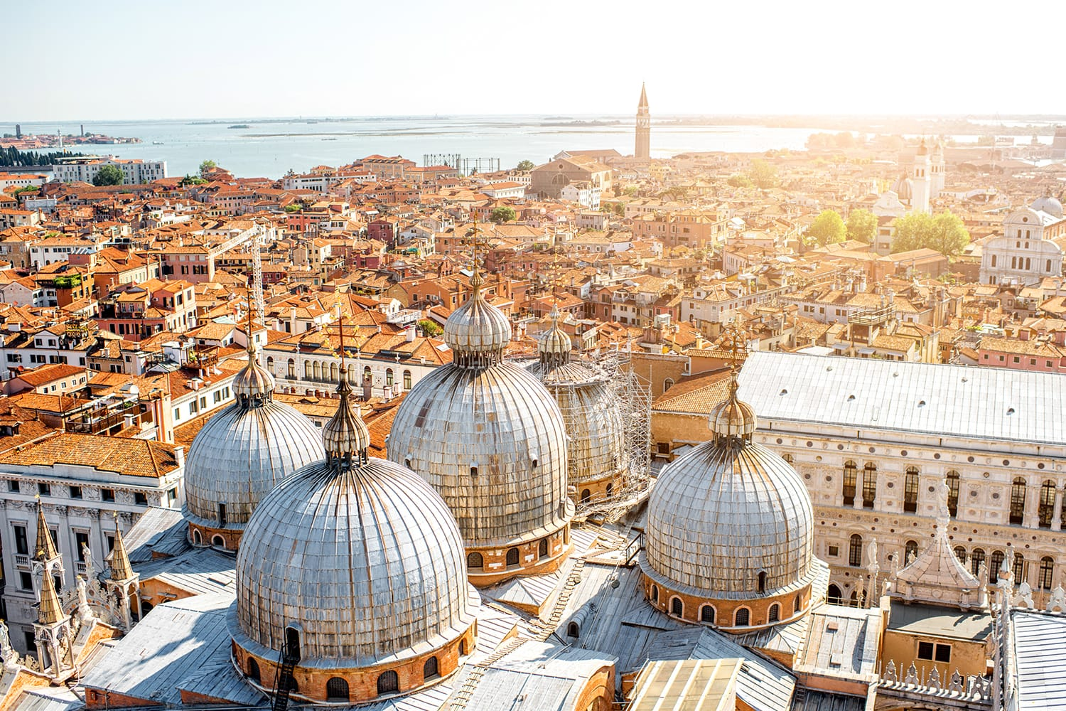 Aerial view on Venice with domes of Saint Mark's basilica in Venice, Italy