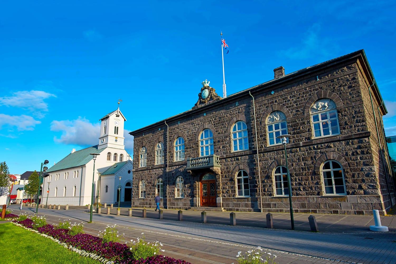 Austurvöllur Square with Parliament in Reykjavik, Iceland