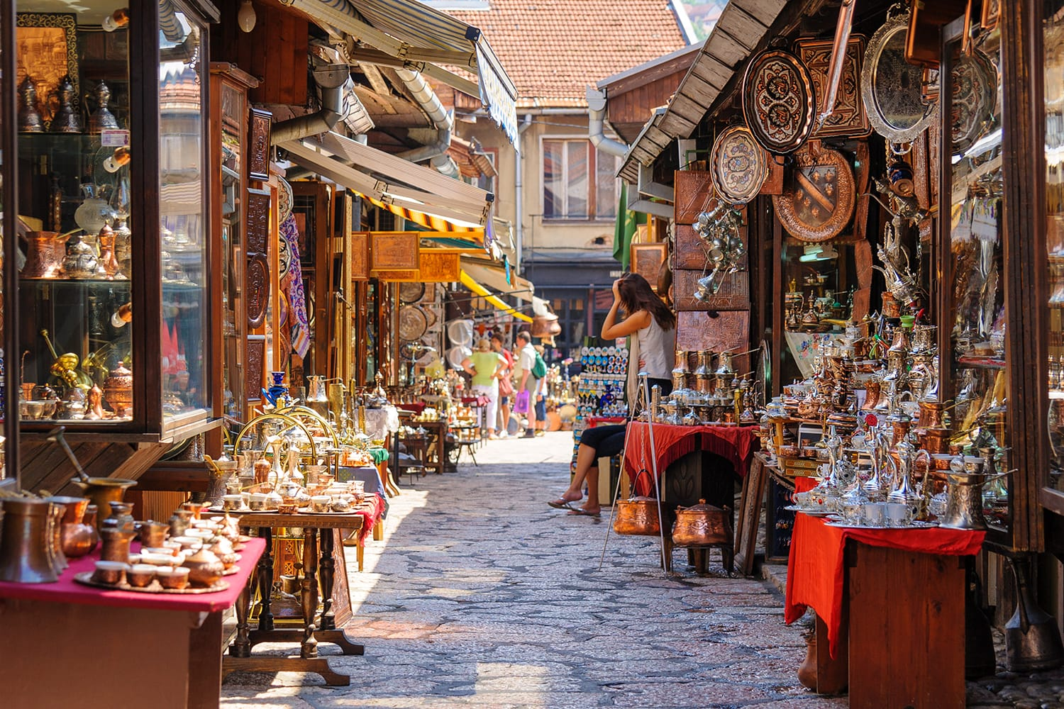 Street with shops selling souvenirs at Bascarsija in the old city district of Sarajevo, Bosnia and Herzegovina