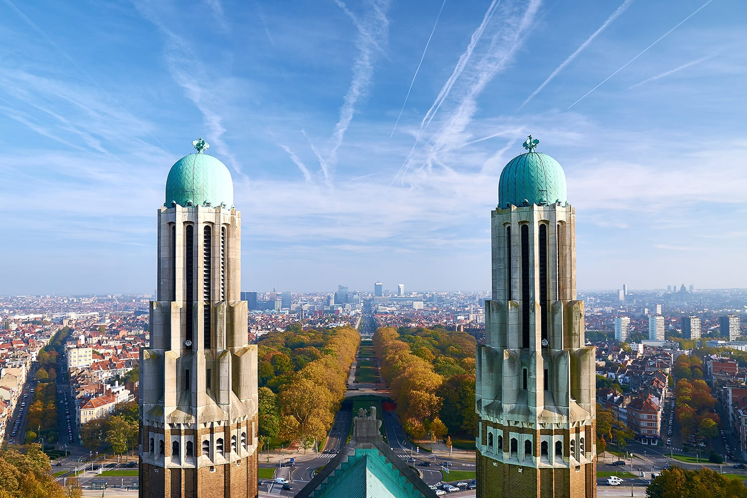 View from the roof of National Basilica of the Sacred Heart to the financial district in Brussels, Belgium