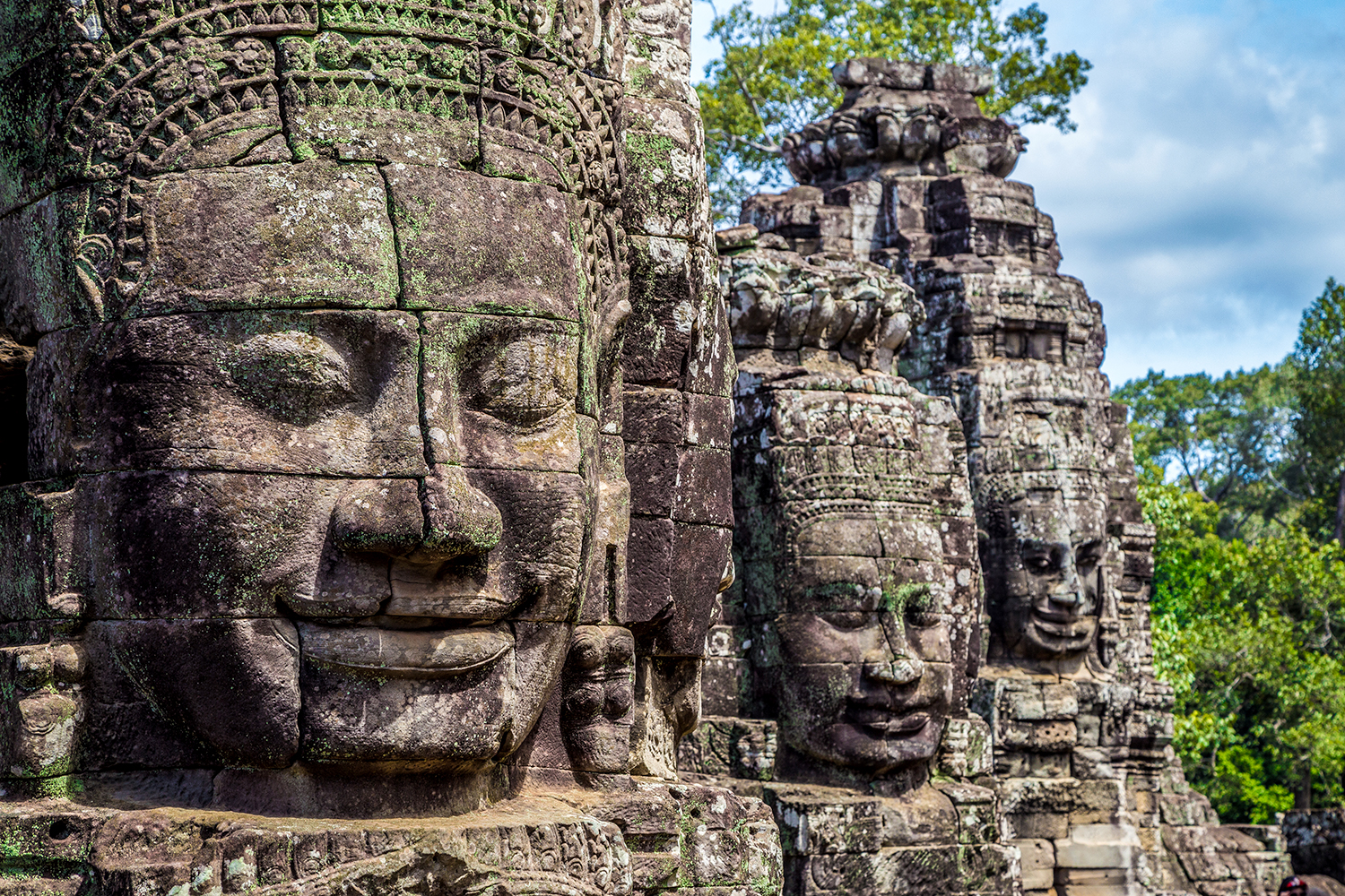 Buddhist faces on towers at Bayon Temple, Cambodia