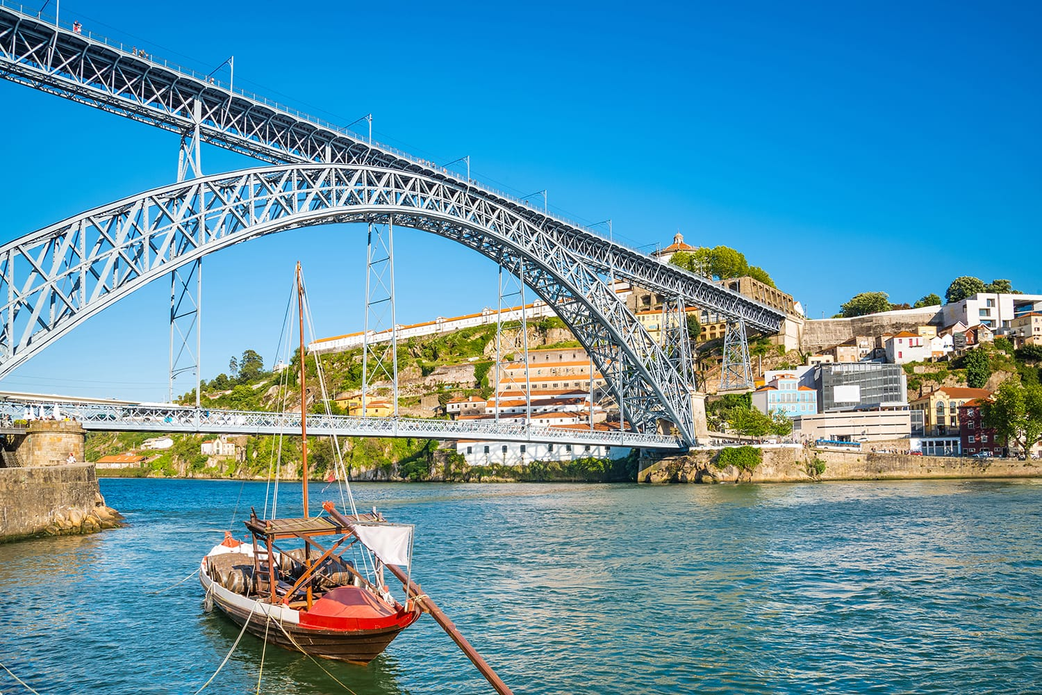 Oporto or Porto city skyline, Douro river, traditional boats and Dom Luis or Luiz iron bridge. Portugal, Europe.