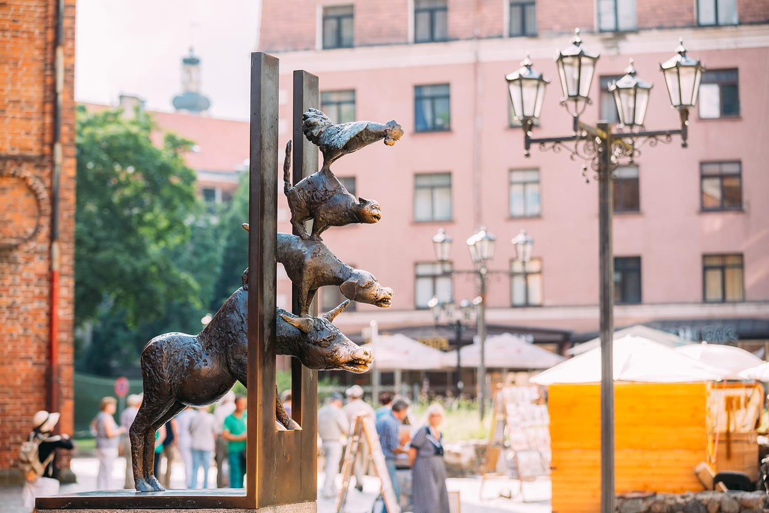 Bronze statue depicting the Bremen Town Musicians located in Riga, Latvia.