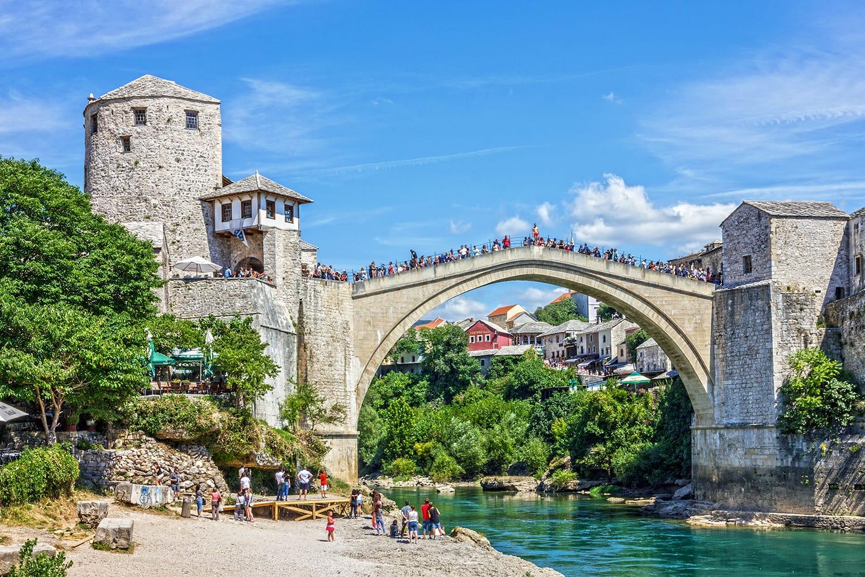 Mostar bridge view in Bosnia and Herzegovina