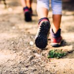 Children hiking in mountains or forest with sport hiking shoes. Girls or boys are walking trough forest path wearing mountain boots and walking sticks