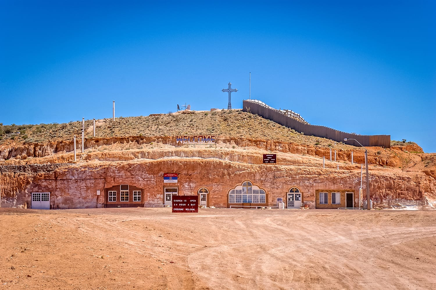 Underground Serbian Church. Coober Pedy is an opal mining town and known for its underground dwellings, built against the heat, known as dugouts. Australia.