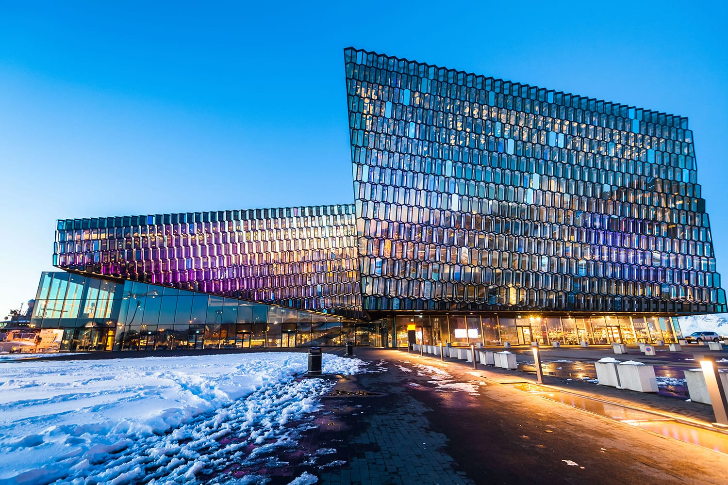Harpa Concert Hall view during blue hour in Reykjavík, Iceland
