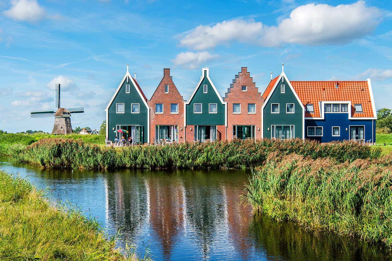 Coloured houses at the Marine Resort in Volendam, Netherlands