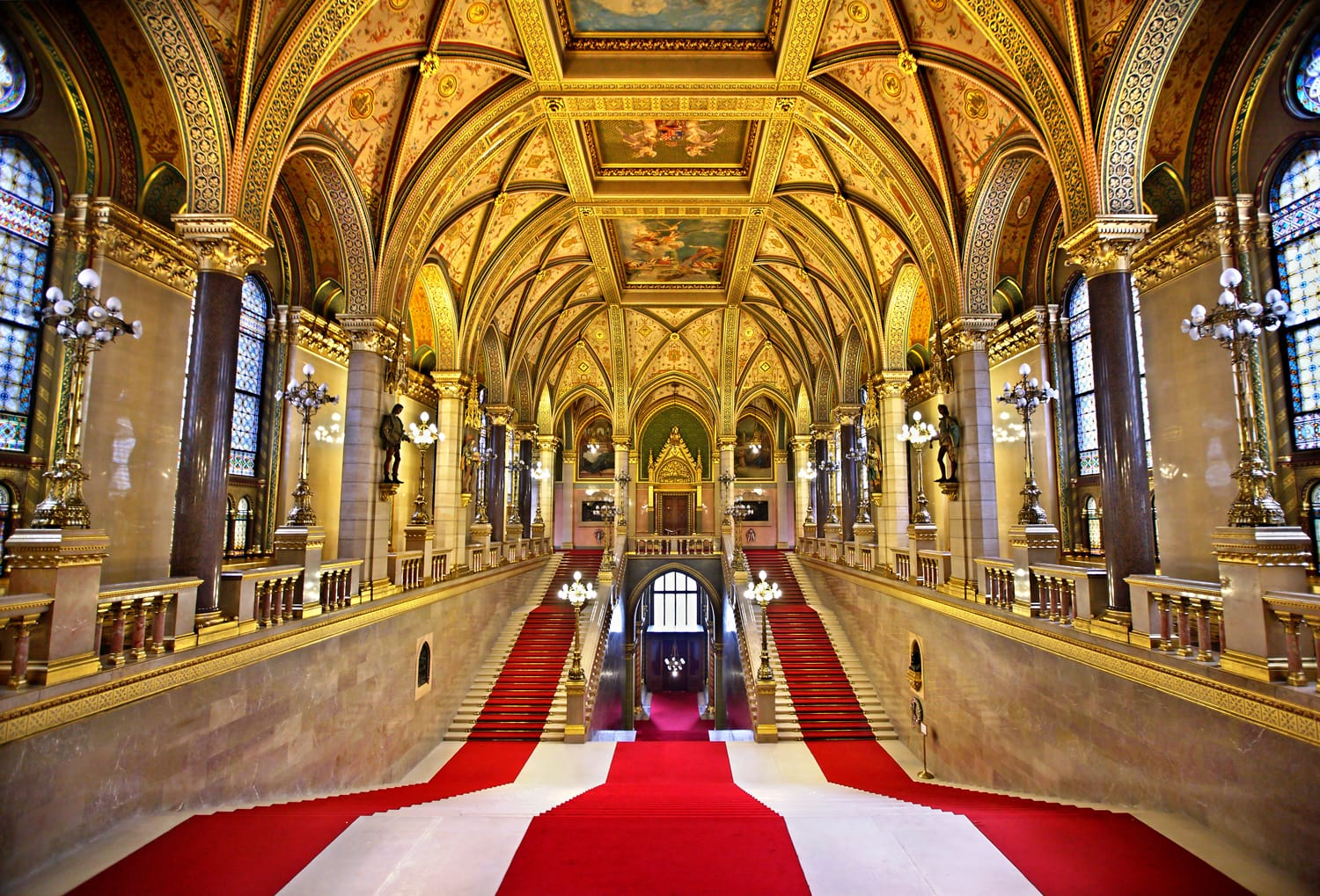 The lavish Grand Staircase of the Hungarian Parliament, Budapest