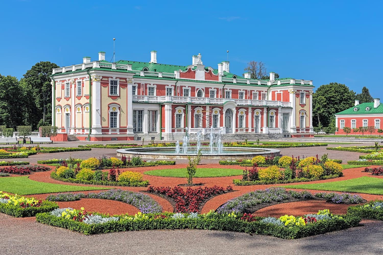 Kadriorg Palace and flower garden with fountain in Tallinn, Estonia