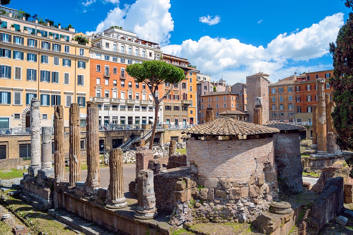 Largo di Torre Argentina. Square with ancient ruins of four Roman Republican temples and Pompey's Theatre in Rome, Italy