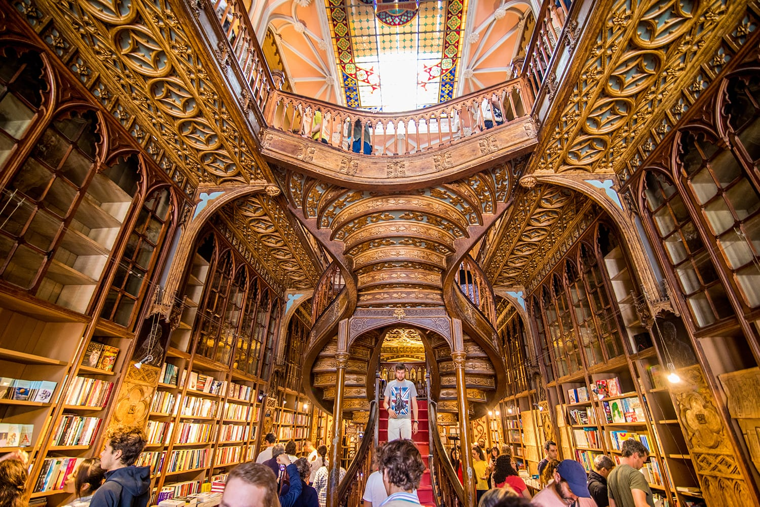 High angle view of stairs in the bookstore Livraria Lello in Porto, Portugal