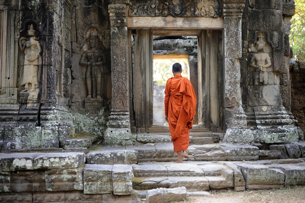 Monk at Banteay Kdei temple, Angkor Wat, Cambodia