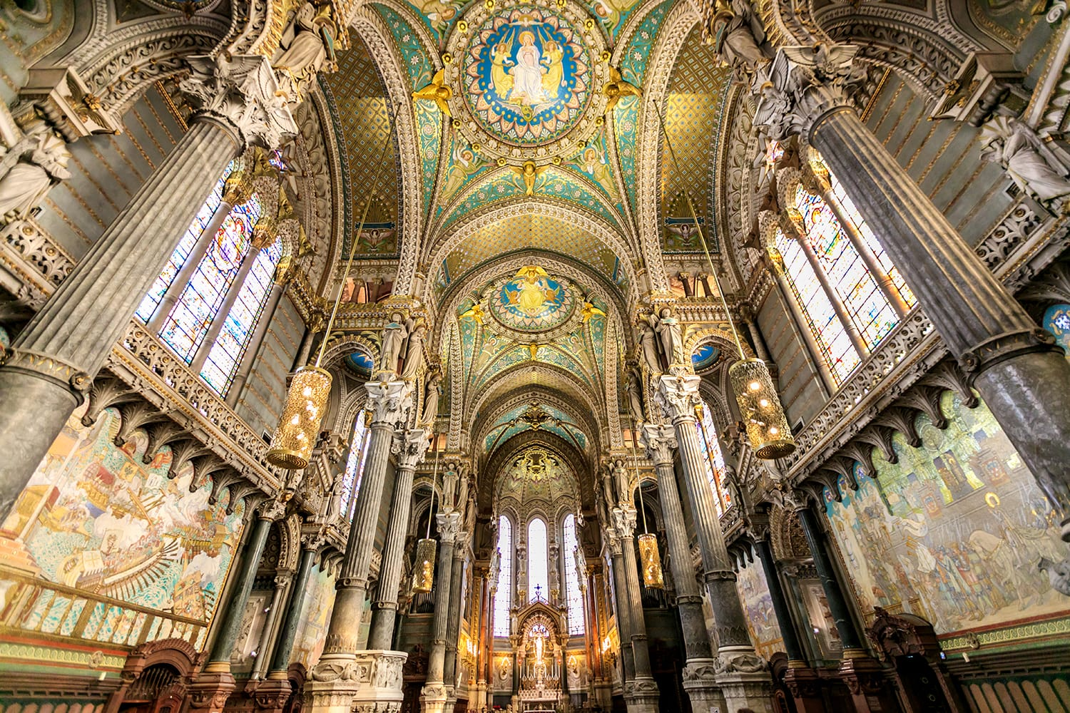 Interiors in Notre Dame de Fourviere basilica on 15 Dec 2015, paintings and details of Notre Dame de Fourviere basilica, Lyon, France