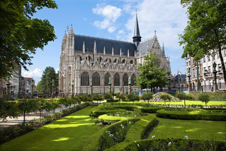 Notre Dame du Sablon gothic church in Brussels, Belgium