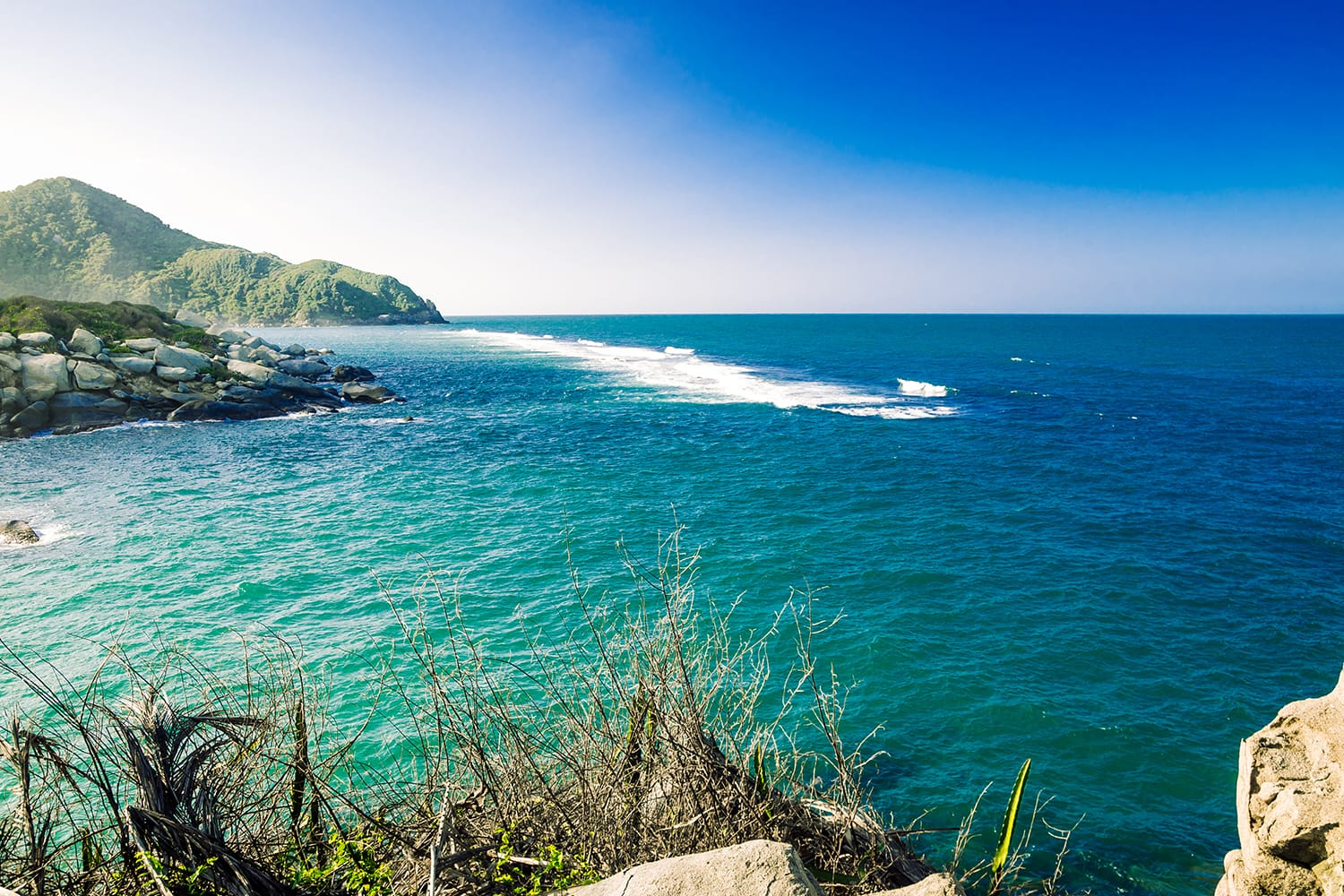 View on tropical sea by National park Tayona in Colombia