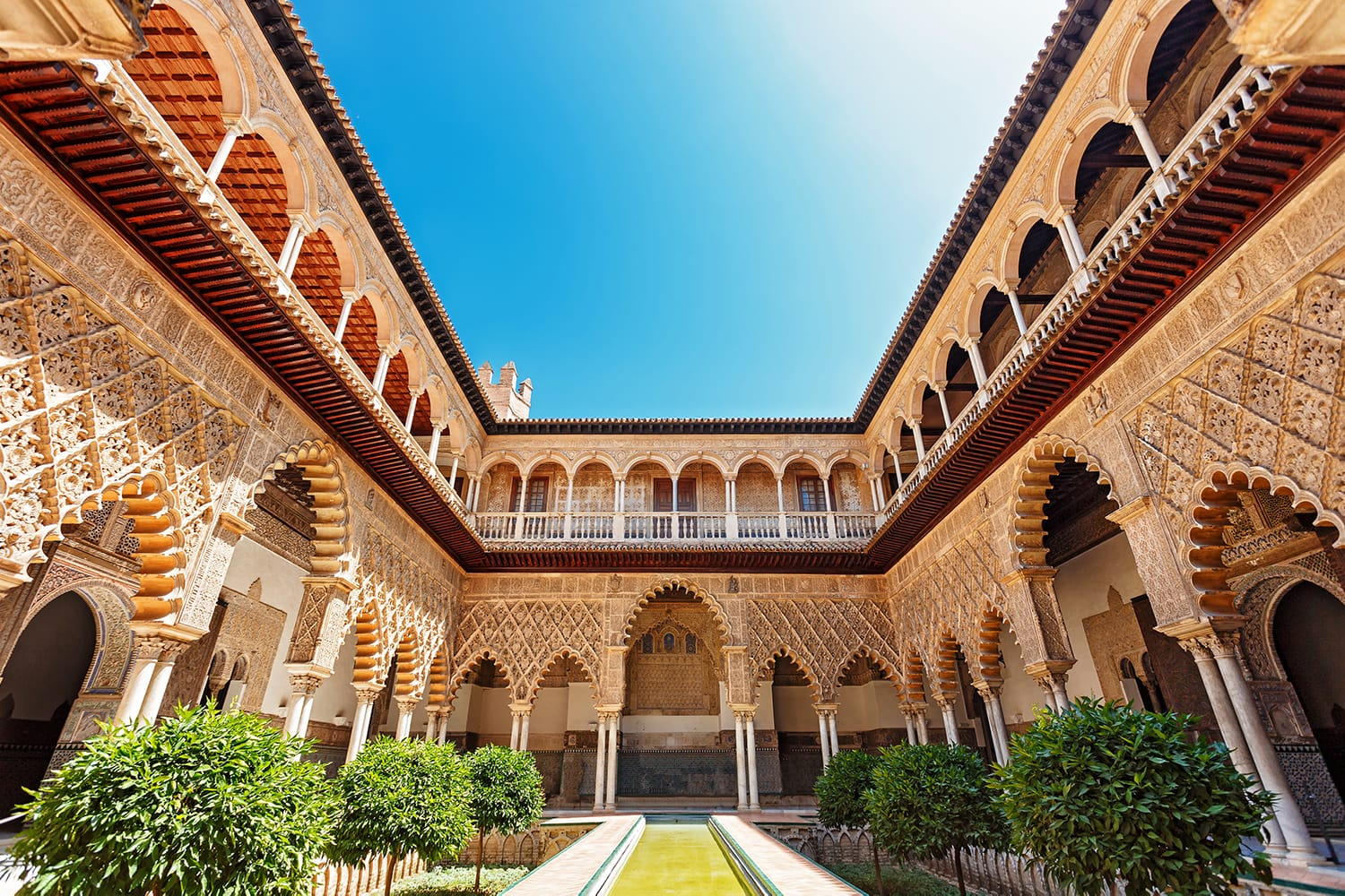 Palace of Alcazar, Famous Andalusian Architecture. Old Arab Palace in Seville, Spain.
