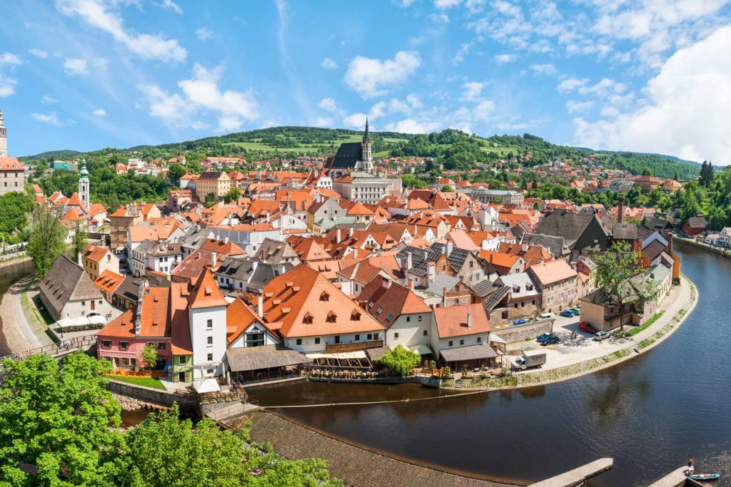 Panorama of the historical part of Cesky Krumlov with Castle and Church of St. Vitius, Czech Republic