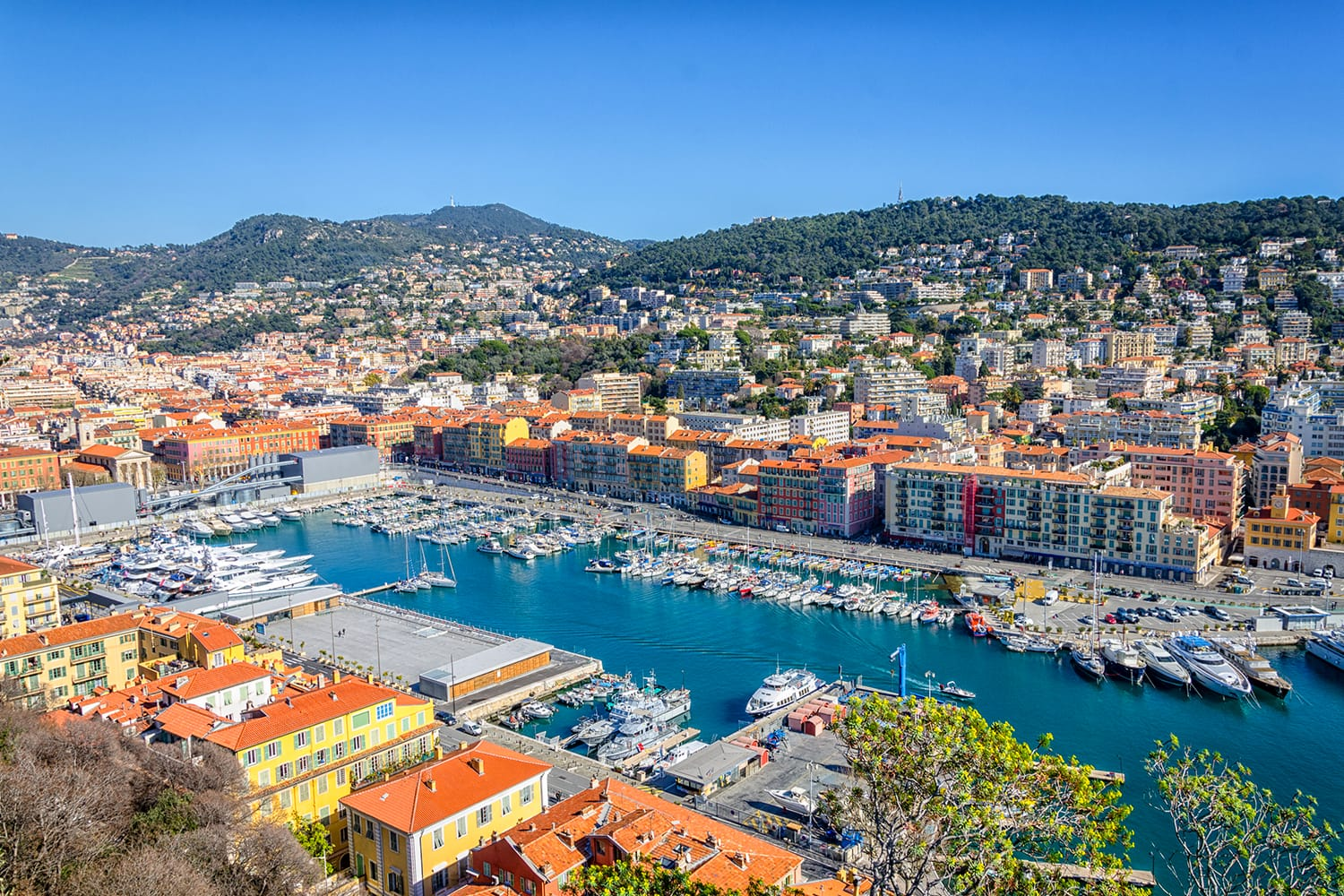 Panoramic view of the harbor in Nice, France