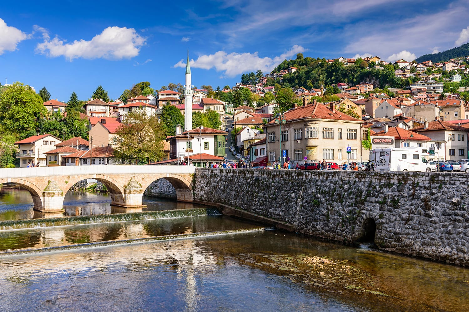 View of the historic centre of Sarajevo, capital city of Bosnia and Herzegovina